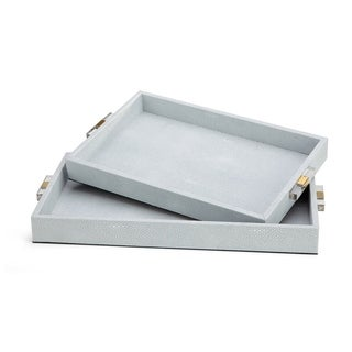 Misty Shagreen Cool Hue with Spots of White Trays (Set of 2)