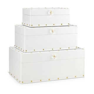 Skye White and Gold Wood Boxes (Set of 3)