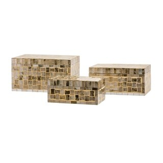 Gold Glass Christmas Mosaic Boxes (Set of 3)