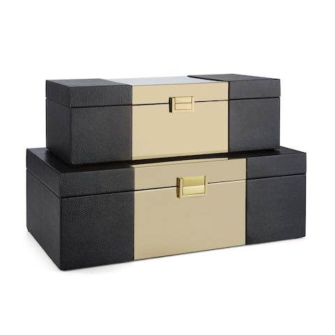 Scarlet Black and Gold Wood Boxes (Set of 2)