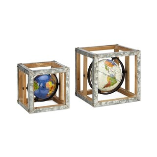 Estaire Grey and Brown Globe Wall Decors (Set of 2)