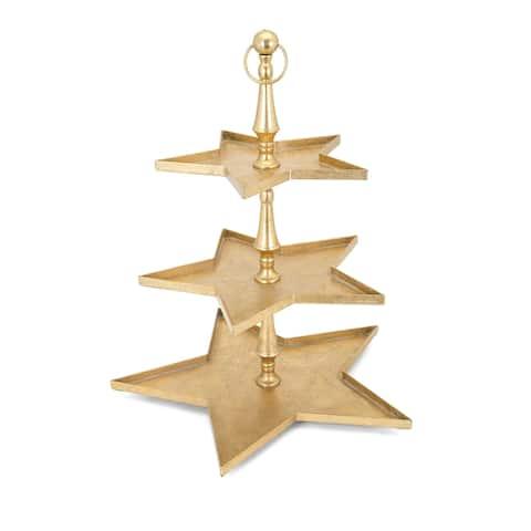 Christmas Golden Iron Star 3 Tier Server