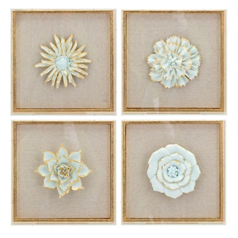 Nadia Distressed Brown Porcelain Flower and Acrylic Wall Decor - Ast 4