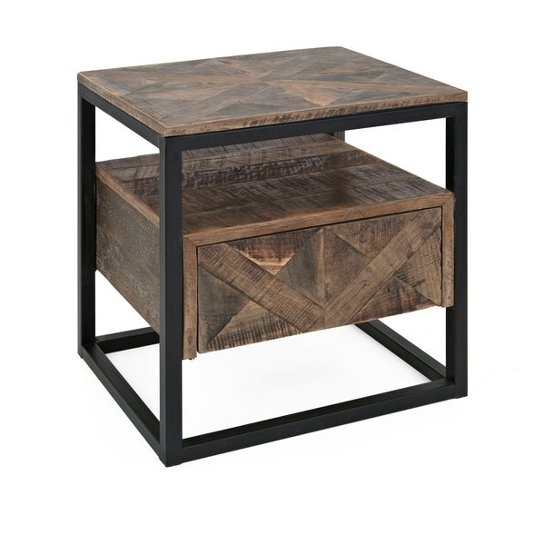 Beau Loxias Black And Brown Reclaimed Wood Accent Table