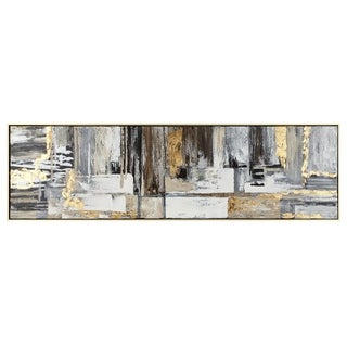 Deacon Champagne Gold Framed Oil Painting - Grey/Brown/White