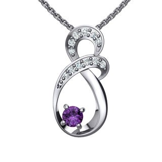 Solid Sterling Silver Two-tier Decked Round Crystal Infinity Necklace in Multiple Gemstones