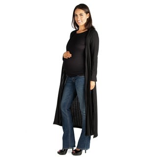 24/7 Comfort Apparel Full Length Open Front Maternity Cardigan