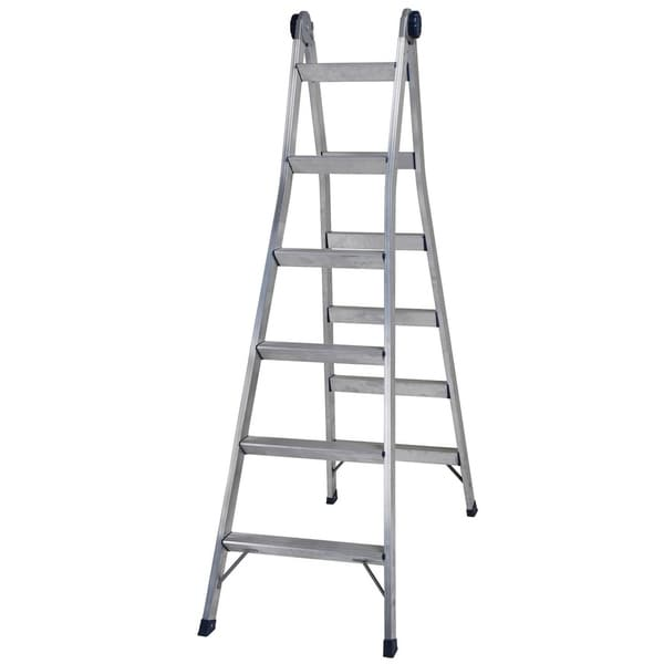 COSCO 2-in-1 Aluminum Multi-Position Step and Extension Ladder-14 FT Tall w/ 16 FT Reach - Silver