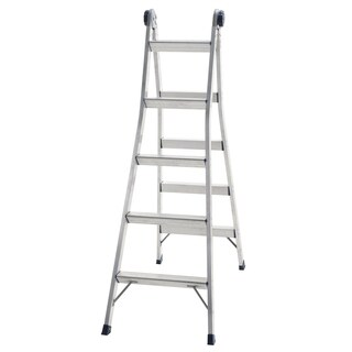 COSCO 2-in-1 Aluminum Multi-Position Step and Extension Ladder-12 FT Tall w/ 14 FT Reach - Silver - N/A