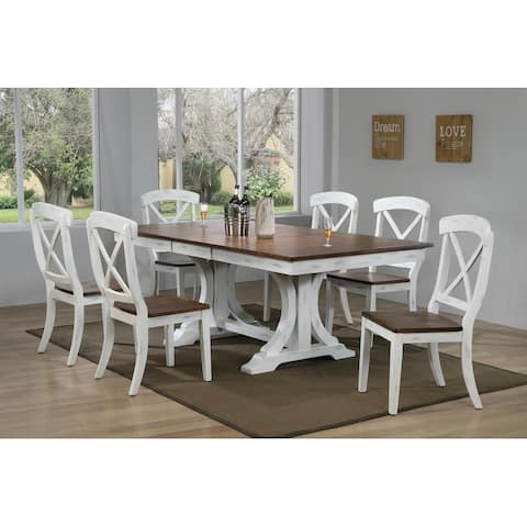 """Iconic Furniture Co 42""""x64""""x82"""" Double Pedestal Deco Distressed Cocoa Brown/ Cotton White Transitional X-Back 7-Piece Dining Set"""
