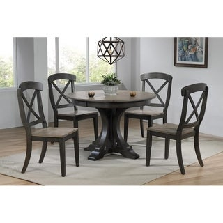 "Iconic Furniture 45""x45""x63""Deco Antiqued Grey Stone/Black Stone Transitional X-Back 5-Piece Dining Set"