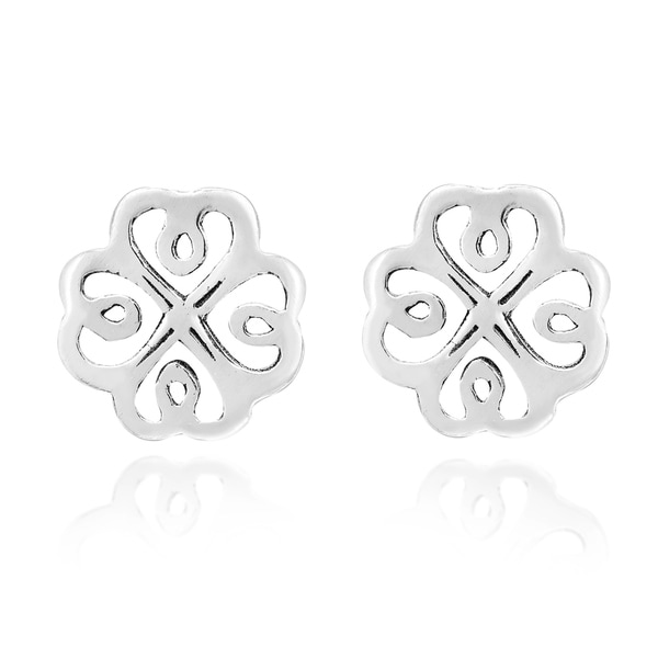 235734a95 Handmade Continuity Lucky Celtic Heart Sterling Silver Post Earrings  (Thailand)