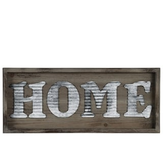 """Wooden Wall Sign with """"HOME"""" In Metal Sheet, Natural Brown"""