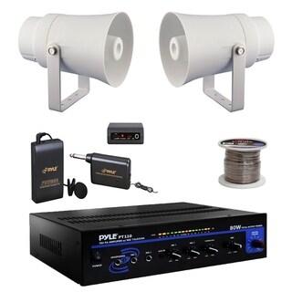 "Pyle 5.6"" 70V PA Horn Speakers,PT110 PA Mono Amplifier,Lavalier Mic Set,Wire"