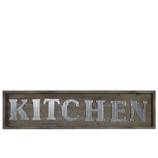 "Wooden Wall Sign with ""KITCHEN"" In Metal Sheet, Natural Brown"