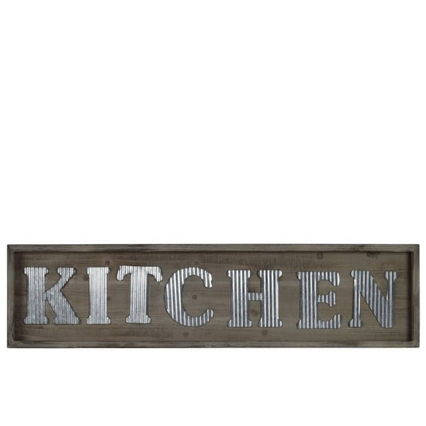 """Wooden Wall Sign with """"KITCHEN"""" In Metal Sheet, Natural Brown"""