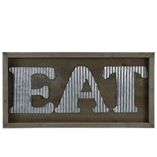 """Wooden Wall Sign with """"EAT"""" In Metal Sheet, Natural Brown"""