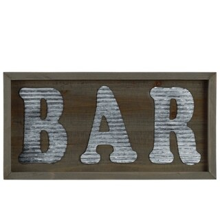 """Wooden Wall Sign with """"BAR"""" In Metal Sheet, Natural Brown"""