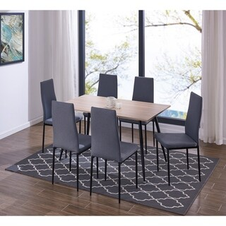 IDS Mid-Century MDF Walnut Table and High Back Chair Set 7 PCS