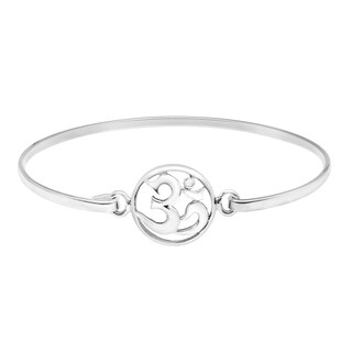 Handmade Peaceful Aum Ohm Sterling Silver Bangle Hook Closure Bracelet (Thailand)