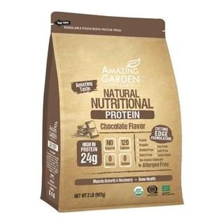 Amazing Garden Foods 2 Lbs Chocolate Vegan Natural Organic Plant-based Protein Powder, Allergen-free/ Low Carb/ Gluten Free