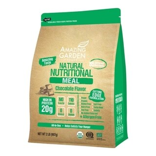 Amazing Garden Foods 2 Lbs Chocolate Vegan Plant-based Meal Replacement Protein Powder, Allergen-free, Gluten Free, Low Carb