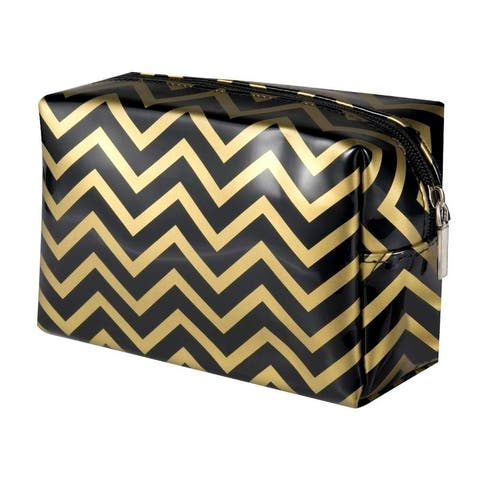 Zodaca Striped Travel Zipper Cosmetic Bag Black and Gold