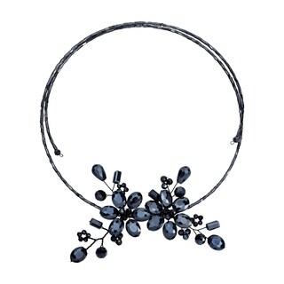 Handmade Sparkling Black Crystal Floral Bouquet Wraparound Choker Necklace (Thailand)