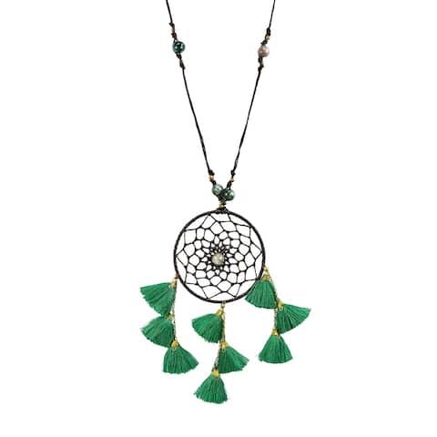 Handmade Mystical Stone Dream Catcher Tassels Cotton Wax Rope Necklace (Thailand)