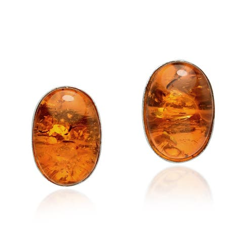 Handmade Classically Simple Oval Shaped Simulated Amber on Sterling Silver Earrings (Thailand)