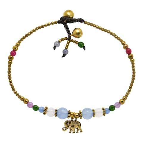 Handmade Charming Boho Elephant Colorful Stone and Brass Beads Handmade Anklet (Thailand)