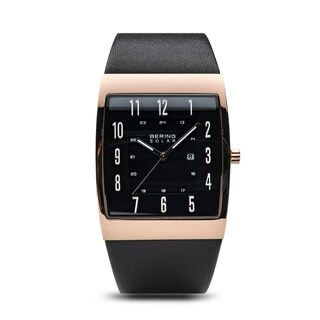 BERING Solar Slim Watch With Sapphire Crystal & Black Calfskin Leather Strap