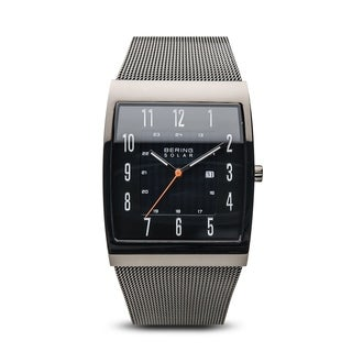 BERING Solar Slim Watch With Sapphire Crystal & Grey Stainless Steel Strap