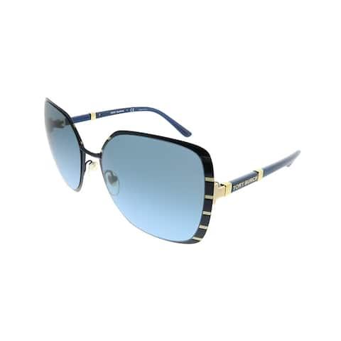 f2d2f2ec2ecb2 Tory Burch Square TY 6055 32168F Women Midnight Navy Gold Frame Blue  Gradient Lens Sunglasses