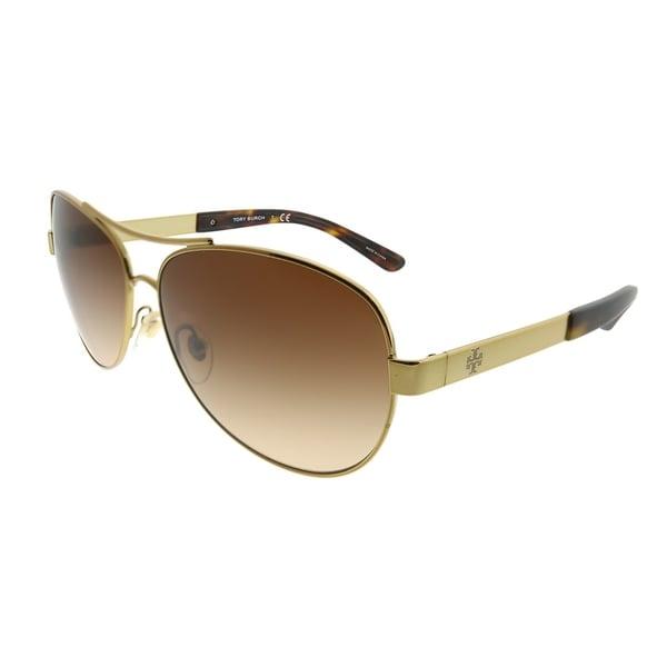 4fc4607b4675 Tory Burch Aviator TY 6047 316013 Women Gold Frame Brown Gradient Lens  Sunglasses