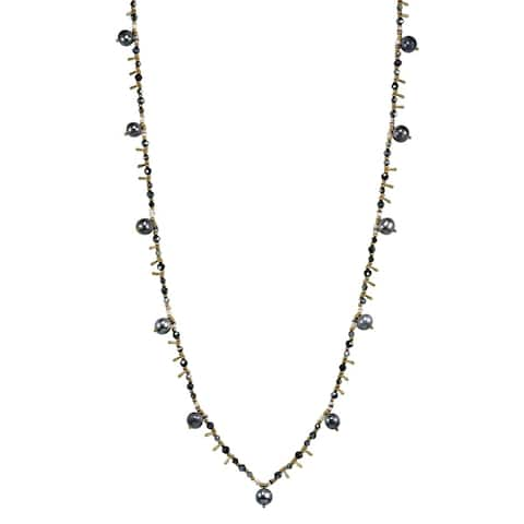 Handmade Glimpse of Black Pearl Crystal Long Multi-Wear Necklace (Thailand)