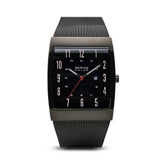 BERING Solar Slim Watch With Sapphire Crystal & Black Stainless Steel Strap