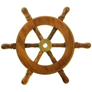 Decorative Wooden Ship Wheel - Wood and Brass