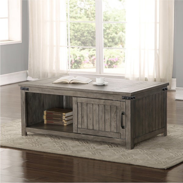 The Gray Barn Raven Gulch Smoked Grey Wood Coffee Table. Opens flyout.