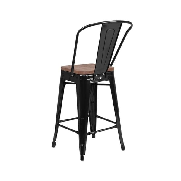 Stupendous Offex 24 High Bistro Style Black Metal Counter Height Stool With Back And Wood Seat Forskolin Free Trial Chair Design Images Forskolin Free Trialorg