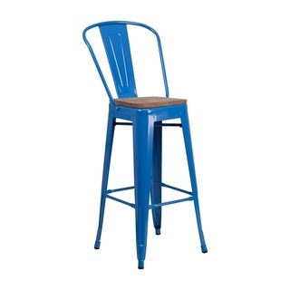 """Offex 30"""" High Bistro Style Blue Metal Barstool with Back and Wood Seat"""