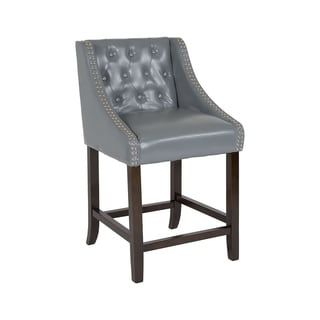 """Offex Carmel Series 24"""" High Transitional Tufted Walnut Counter Height Stool with Accent Nail Trim in Light Gray Leather"""