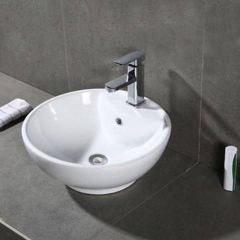 "Kai Porcelain Ceramic Vitreous Round 20 Inch White Bathroom Vessel Sink - 19.7"" x 17.7"" x 7.9"""