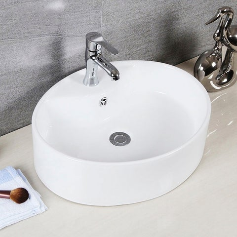 "Brook Porcelain Ceramic Vitreous Oval 20 Inch White Bathroom Vessel Sink - 20.1"" x 16.7"" x 5.9"""