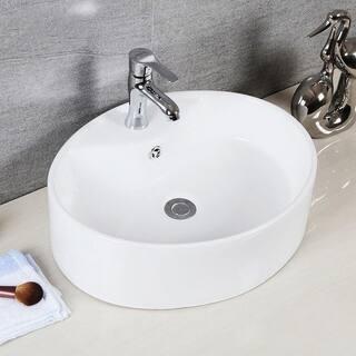 "Brook Porcelain Ceramic Vitreous Oval 20 Inch White Bathroom Vessel Sink - 20.1"" x 16.7"" x 5.9"""