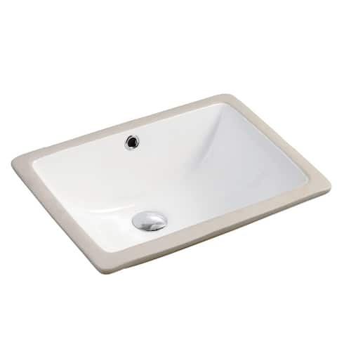 "Seaton Porcelain Ceramic Vitreous Rectangular 18.5 Inch White Undermount Bathroom Sink - 18.5"" x 13.8"" x 8.3"""