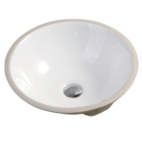 "Nerida Porcelain Ceramic Vitreous Round 17 Inch White Undermount Bathroom Sink - 16.9"" x 16.9"" x 7.1"""