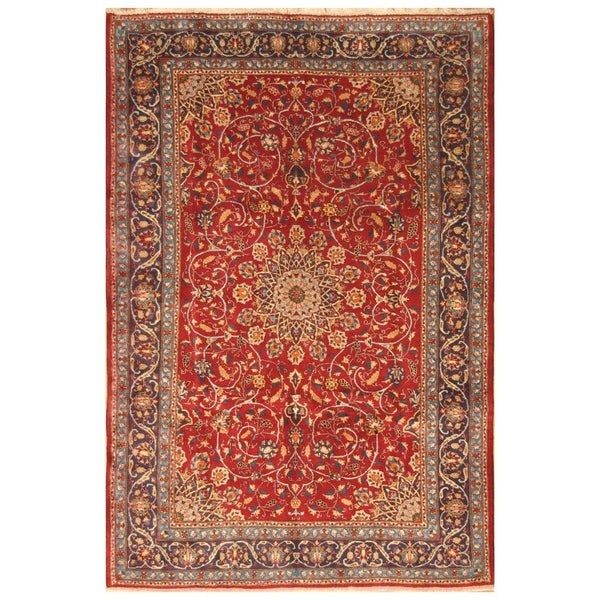 Hand Knotted Persian Isfahan Wool Area Rug: Shop Handmade Herat Oriental Persian Hand-knotted Isfahan