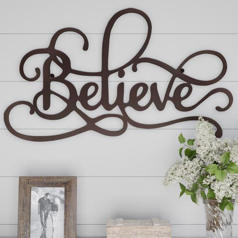 Metal Cutout- Believe Decorative Wall Sign-3D Word Art Lavish Home