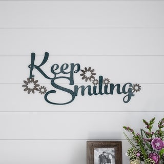 Metal Cutout- Keep Smiling Decorative Wall Sign-3D Word Art Lavish Home